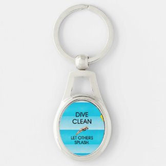 TOP Dive Clean Silver-Colored Oval Key Ring