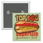 Top Dog Hotdog Personalised 15 Cm Square Badge