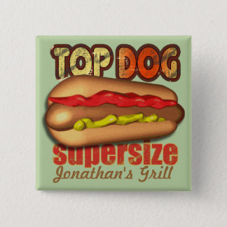 Top Dog Hotdog Personalized 15 Cm Square Badge