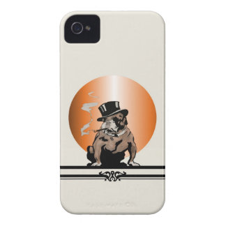 Top Dog Vintage Art Deco Bulldog and Cigar Top Hat iPhone 4 Case-Mate Cases