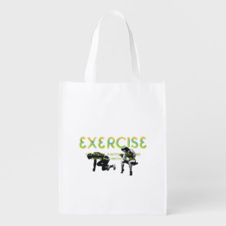 TOP Exercise Slogan Reusable Grocery Bag