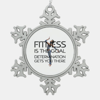 TOP Fitness Goal Snowflake Pewter Christmas Ornament