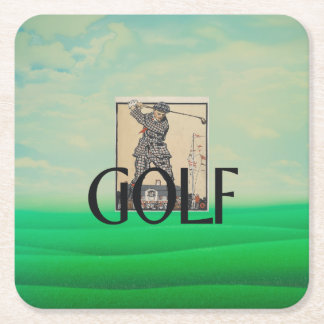 TOP Golf Old School Square Paper Coaster