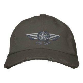 Top Gun Aviation Star Laurels Pilot Wings Embroidered Cap