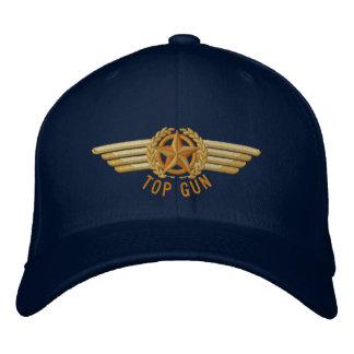 Top Gun Aviation Star Laurels Pilot Wings Embroidered Hat