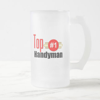 Top Handyman Frosted Glass Beer Mug