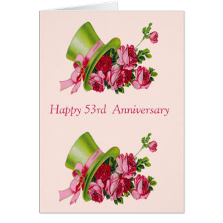 Top hat and flowers, Happy 53rd  Anniversary Card