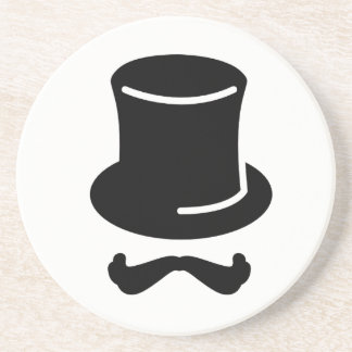 TOP HAT AND MUSTACHE SANDSTONE HIPSTER COASTER