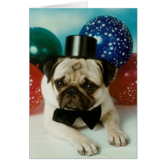 Top Hat Birthday Pug Greeting Card
