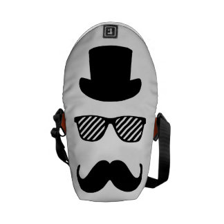 Top hat, glasses and moustache commuter bags