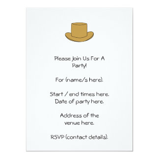 Top Hat illustration. Brown. 6.5x8.75 Paper Invitation Card