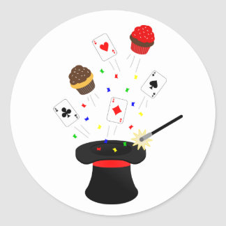 Top Hat Magic Show Birthday Party Classic Round Sticker