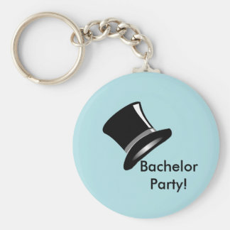 Top Hat on Blue Basic Round Button Key Ring