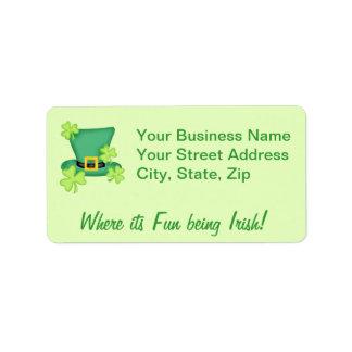 Top Hat Shamrocks Irish Business Promotion Address Label
