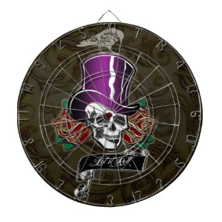 Top Hat Skull and Raven Dartboard