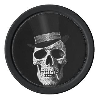 Top hat skull poker chips
