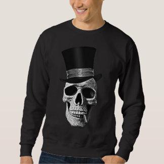 Top hat skull pull over sweatshirt