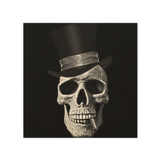 Top hat skull wood wall art