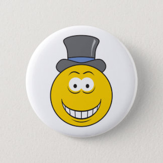 Top Hat Smiley Face 6 Cm Round Badge