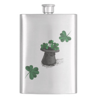 Top Hat With Shamrock Clovers Flasks