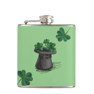 Top Hat With Shamrock Clovers Hip Flask