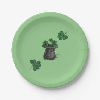 Top Hat With Shamrock Clovers Paper Plate
