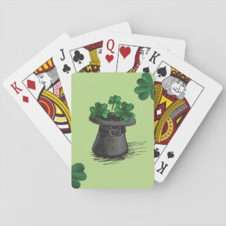 Top Hat With Shamrock Clovers Playing Cards