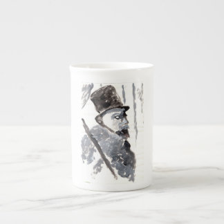 Top-hatted gentleman in black and gray mug