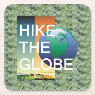 TOP Hike the Globe Square Paper Coaster