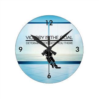 TOP Hockey Victory Slogan Round Clock