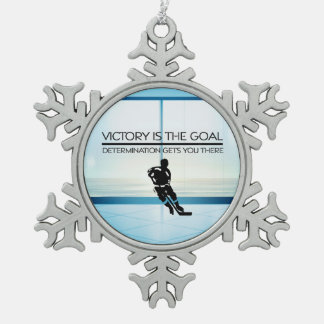 TOP Hockey Victory Slogan Snowflake Pewter Christmas Ornament