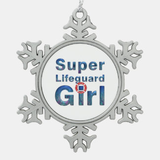 TOP Lifeguard Girl Snowflake Pewter Christmas Ornament