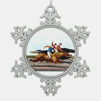 TOP Love Horse Racing Snowflake Pewter Christmas Ornament