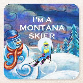 TOP Montana Skier Square Paper Coaster