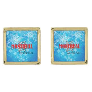 TOP Montreal Winter Fun Gold Finish Cufflinks