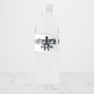 TOP Muscle Up Man Water Bottle Label