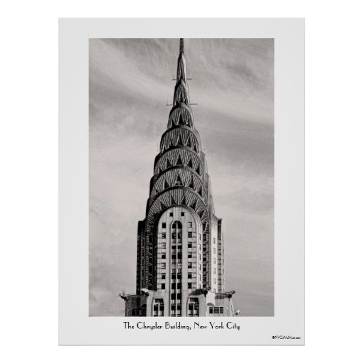 Top of the Chrysler Building NYC - B&W Print