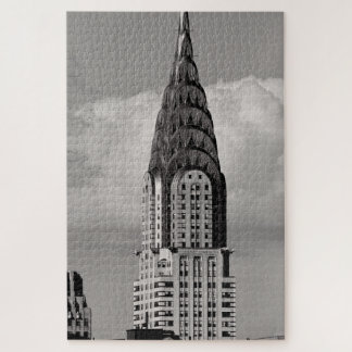 Top of the Chrysler Building & Puffy Cloud BW Jigsaw Puzzle