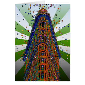 Top of the Flatiron Building - Green & White Rays Card