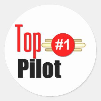 Top Pilot Round Sticker