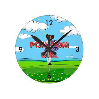 TOP Pom Pom Girl Round Clock