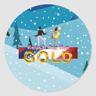 TOP Reach for the Gold Classic Round Sticker
