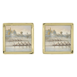 TOP Rowing Gold Finish Cufflinks