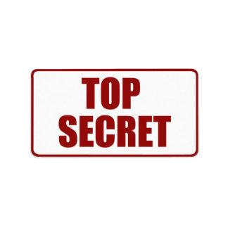 Top Secret Medium size label Address Label