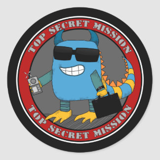 TOP SECRET MISSION CLASSIC ROUND STICKER