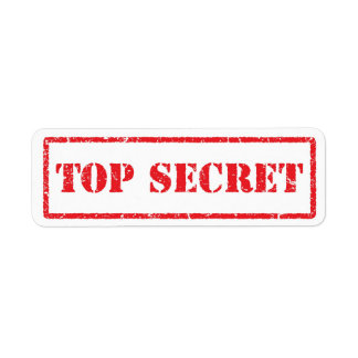 Top secret red distressed label return address label