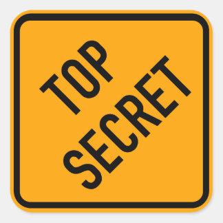 Top Secret Spy CIA Yellow Diamond Warning Sign Square Sticker