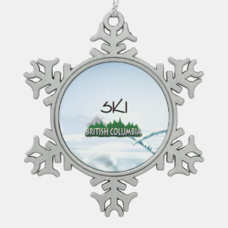 TOP Ski BC Snowflake Pewter Christmas Ornament
