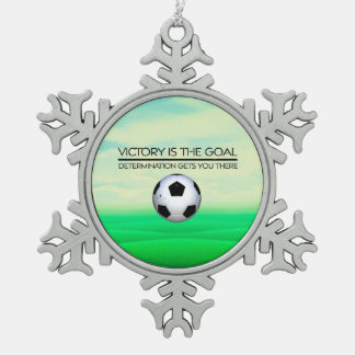 TOP Soccer Victory Slogan Snowflake Pewter Christmas Ornament