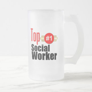 Top Social Worker Frosted Glass Mug